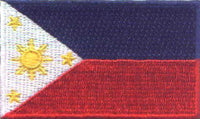 "Philippines Flag Patch 1.5"" x 2.5"""