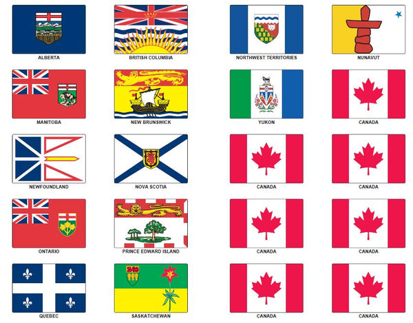 Full Set of 13 Province, Territory and 7 Canada Stickers