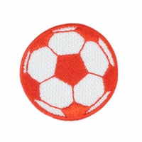 "Red Soccer Ball / Football Patch 1.5"" Iron on"