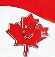 Smiling Happy Canada Maple Leaf Lapel / Hat Pin