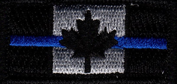 Canada Flag Patch Tactical Police / Thin Blue Line / Officer Memorial Design