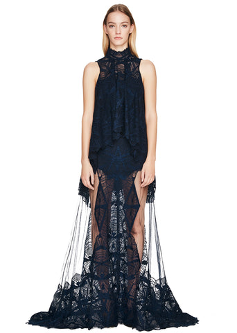 Layered Lace Mockneck Gown