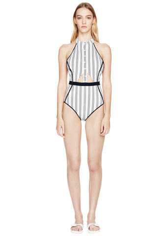 Halter Snap Front One-Piece
