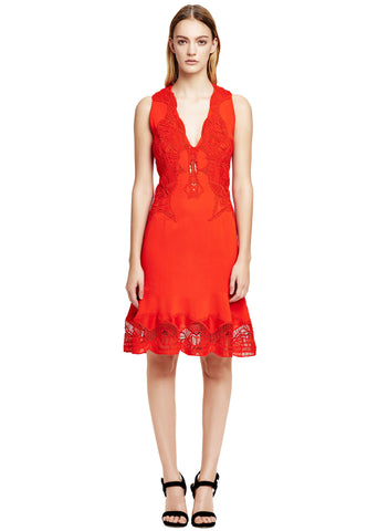 Lace Appliqué Crepe Dress