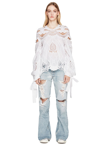 Crochet Embroidered Blouson Sleeve Top