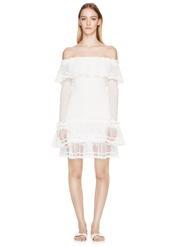 Ruffle Crochet Longsleeve Mini Dress