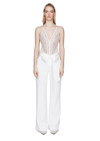 Deconstructed Fold-Over Wide Leg Pant