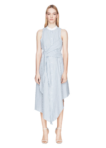 Wrapped Oxford Side-Tie Maxi Dress