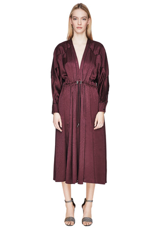 Silk Jacquard V-Neck Godet Dress