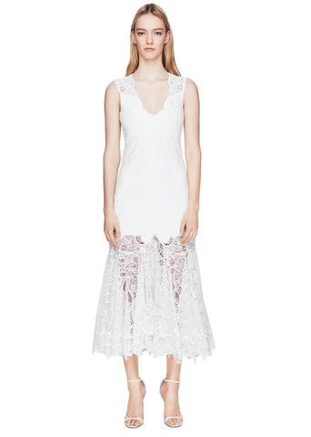 Eyelet Applique Midi Racer Dress
