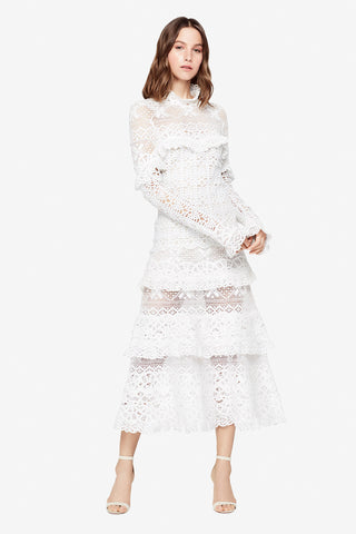 CROCHET LACE MOCK NECK RUFFLE TIERED DRESS