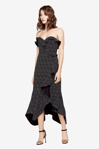SPECKLE PRINT ASYMMETRIC RUFFLE DRESS