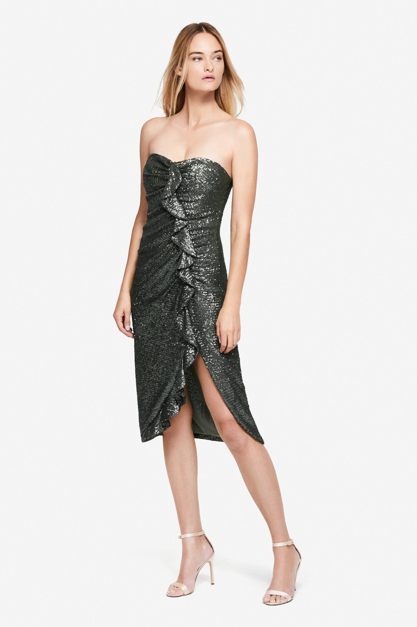 Sequin Embossed Strapless Dress
