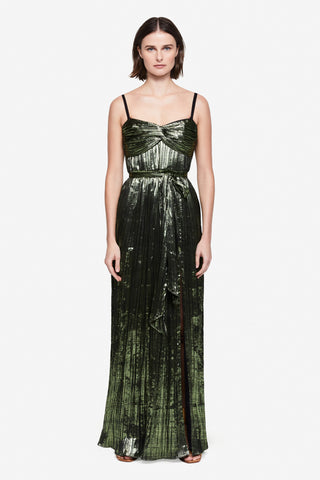 Metallic Plisse Strapless Gown