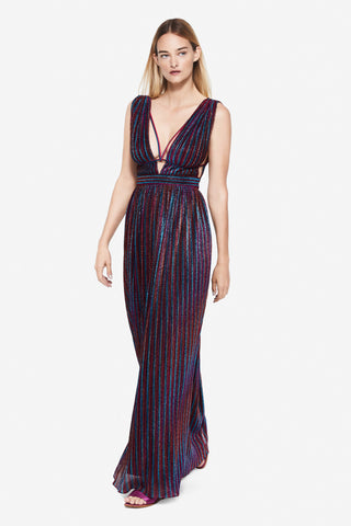 Rainbow Pleats Maxi Dress