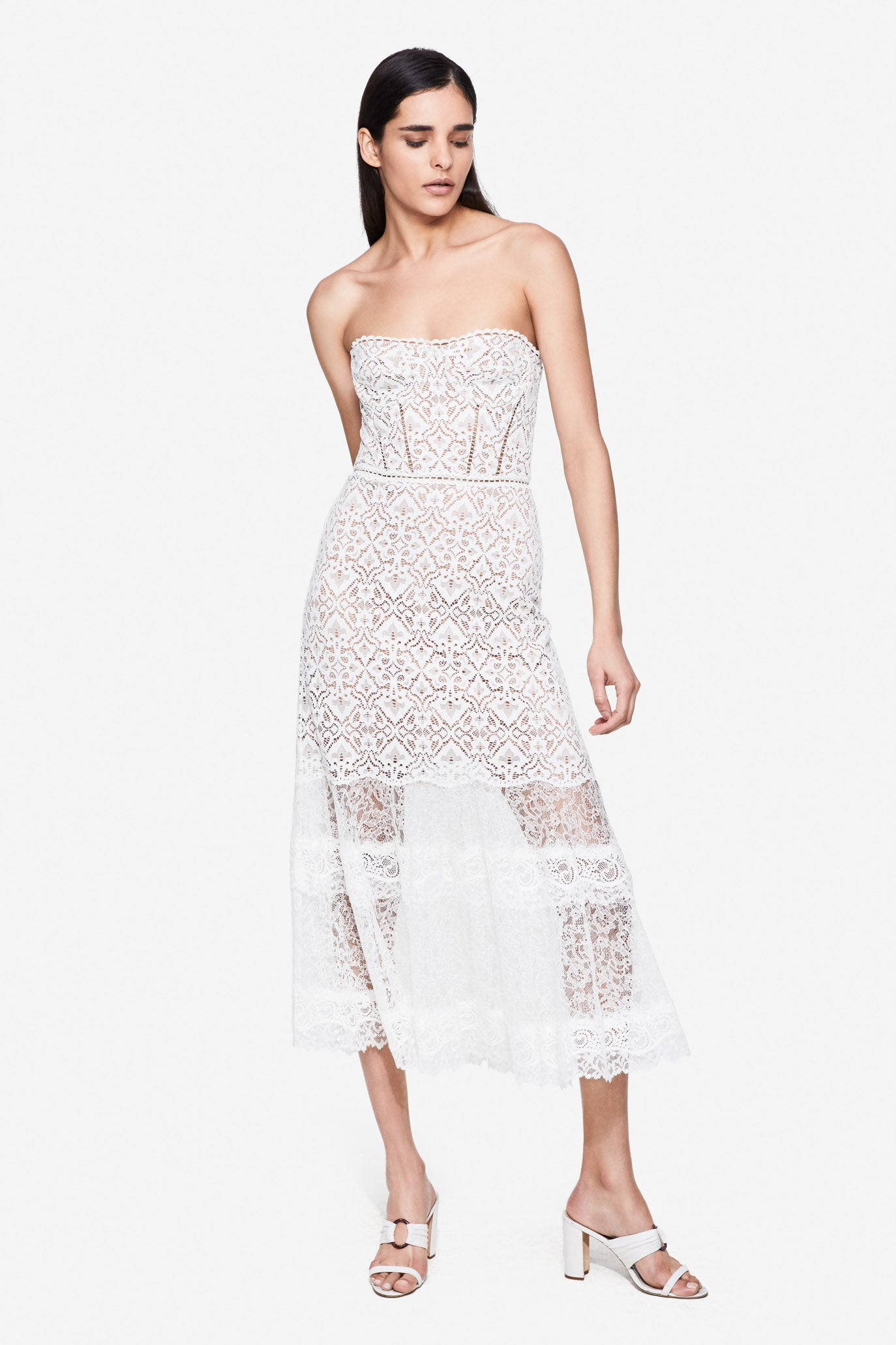 Multimedia Lace Midi Dress