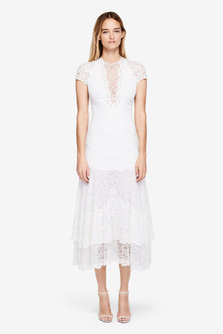 Multimedia Lace Tiered Dress