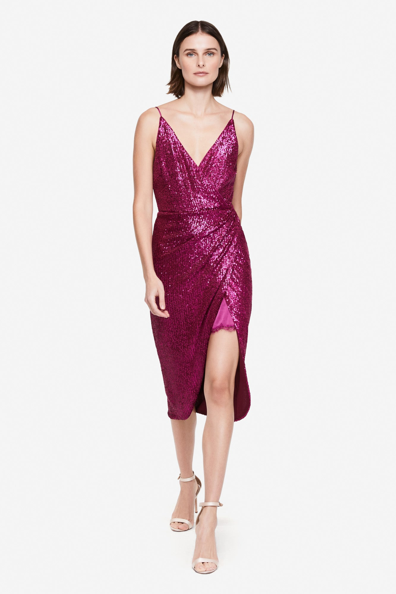 Sequin Embossed Wrap Dress