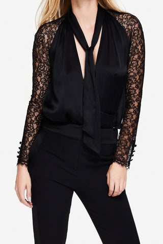 Silk & Lace Wrap Top