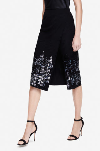 Ribbed Sequin Slit Skirt