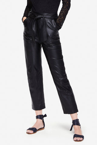 Tie Waist Vegan Leather Pant