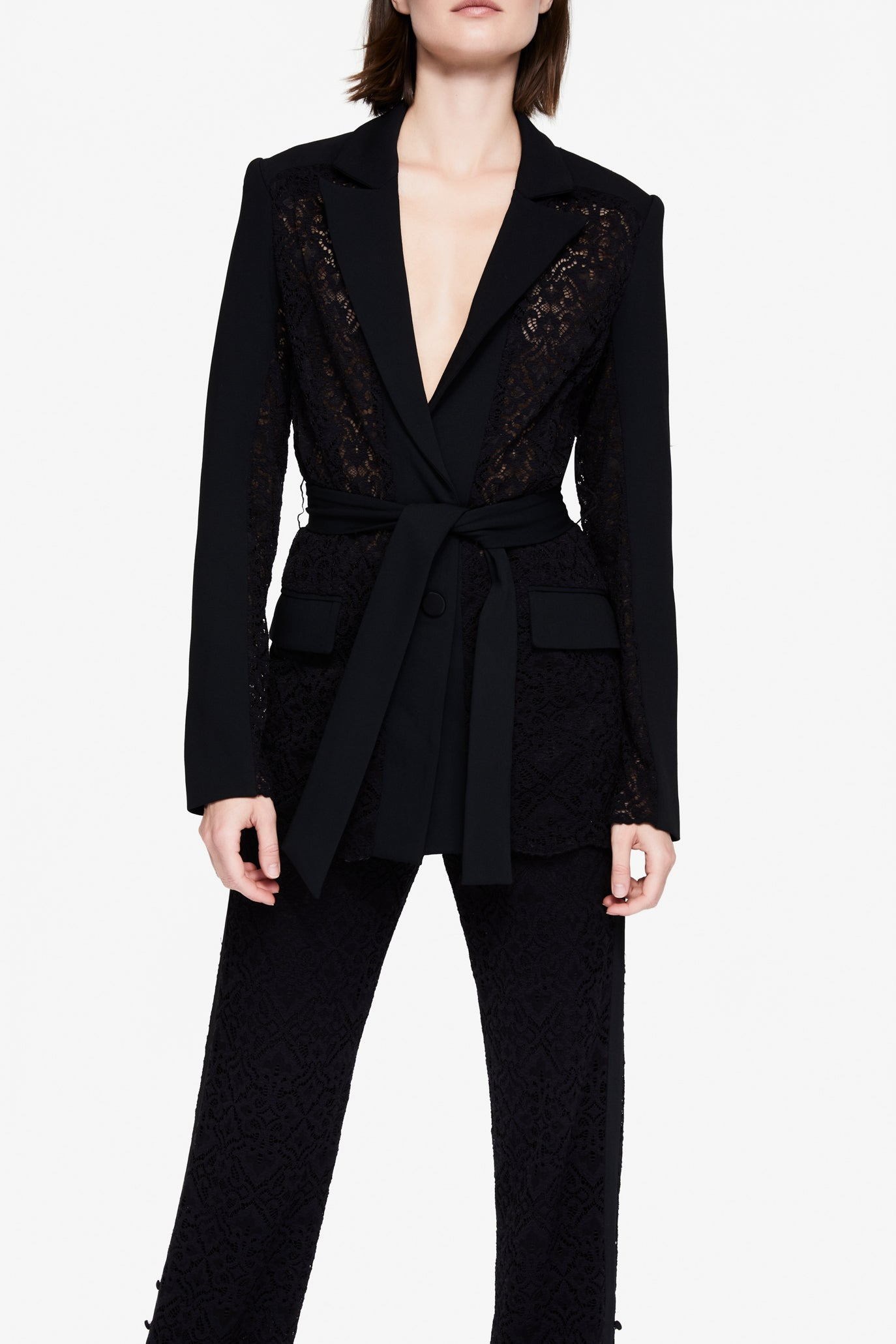 Multimedia Lace Blazer