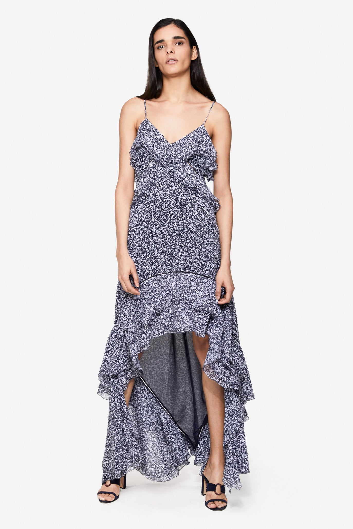 SILVIA FLORAL CRINKLE CHIFFON DRESS GOWN