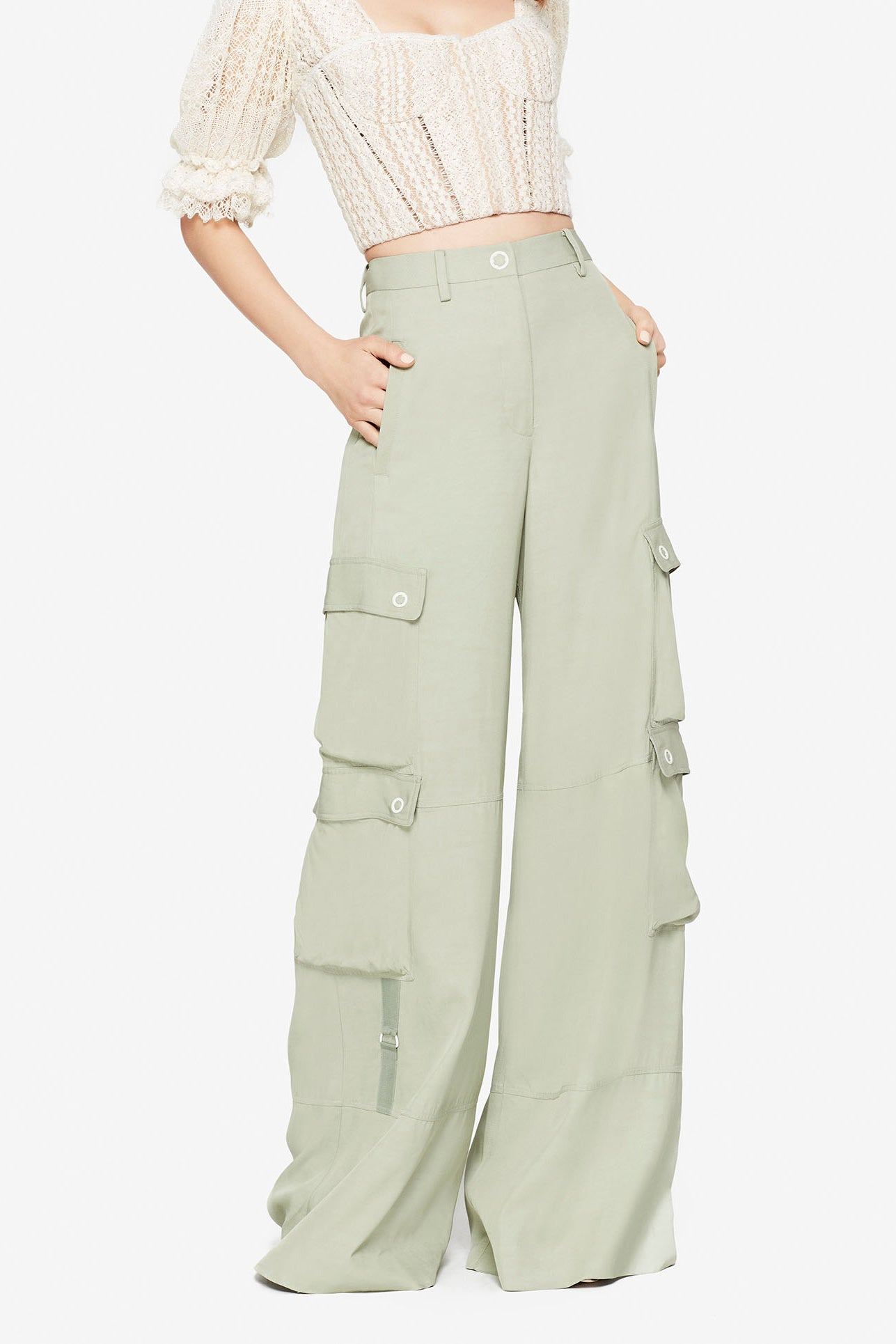 LUX TWILL WIDE LEG CARGO PANT