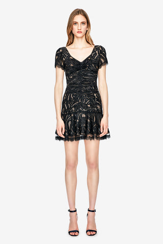 Metallic Lace Mini Ruffle Dress