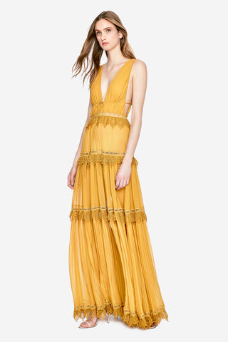 Stripe Georgette Open Neck Maxi Dress