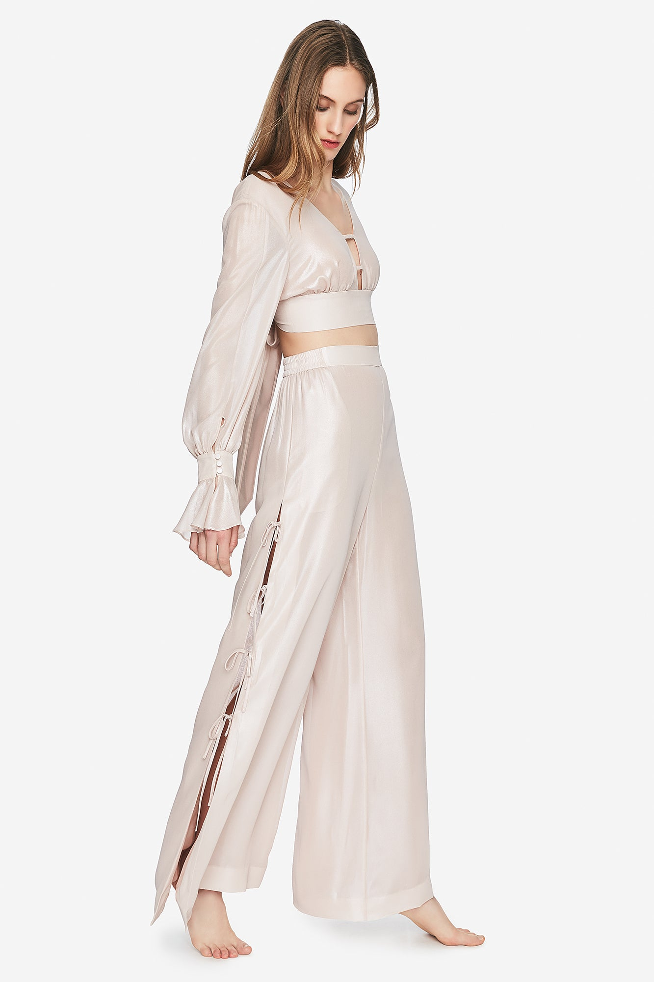 Metallic Chiffon Side Tie Pant