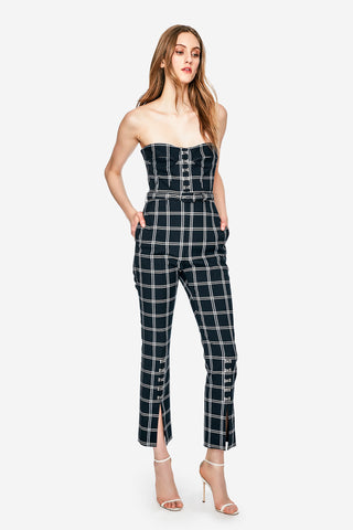 Windowpane Bustier Jumpsuit