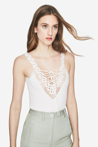 Crochet Lace-Up Deep V Bodysuit