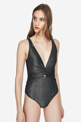 Metallic Front Twist One Piece