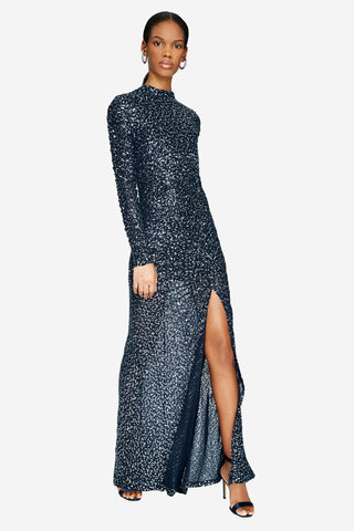 Sequined Open Back Gown