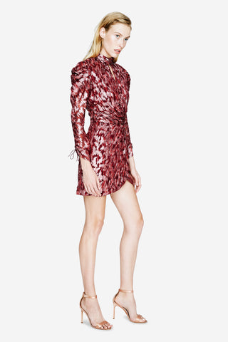 Metallic Jacquard Wrap Dress
