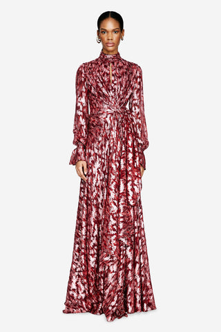 Metallic Jacquard Maxi Dress