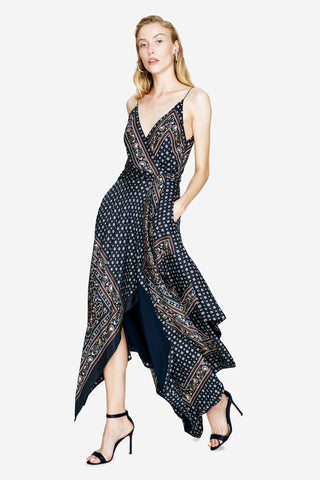 Camisole Wrap Scarf Print Dress