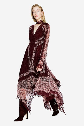 Embroidered Scarf Print Dress