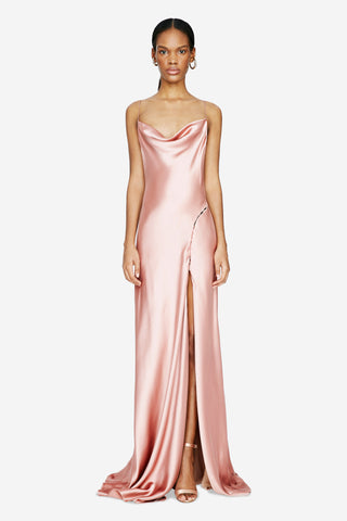 Satin Cowl Neck Gown