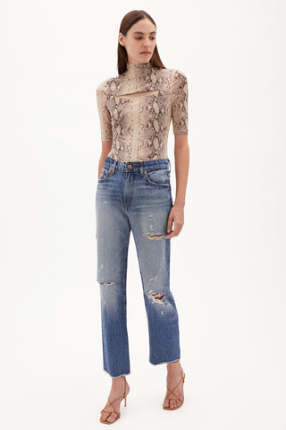 Eliot High Rise Distressed Denim