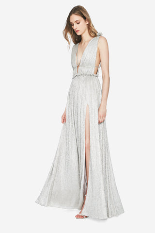 Plisse Lame Open Neck Maxi Dress