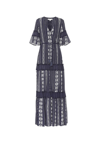 Embroidered Voile Cover Up Maxi Dress
