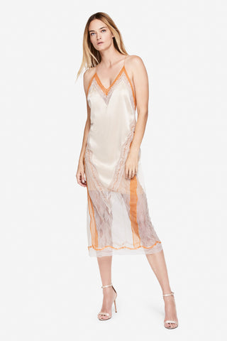 Lace-Trimmed Satin Slip Dress