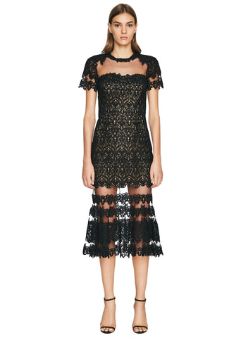 Guipure Lace Sheer Ruffle Dress
