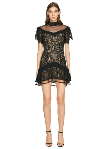 Mixed Lace Mockneck Mini Dress