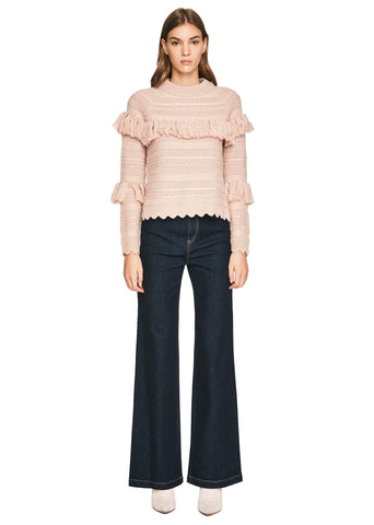 Wool Tassel Knit Crew Neck Sweater