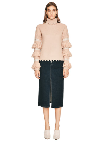 Wool Tassel Knit Turtlekeck Sweater