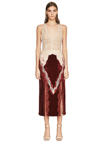 Lacy Velvet Double Slit Skirt