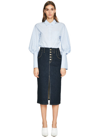 Rinsed Denim Front Slit Skirt